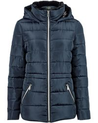 Dorothy Perkins Navy Faux Fur Collar Padded Coat - Blue