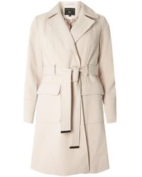 Dorothy Perkins - Oat Twill Belted Coat - Lyst