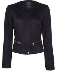 Dorothy Perkins Black Suedette Collarless Jacket, Black