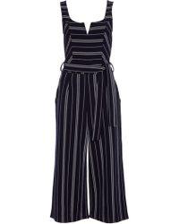 Quiz - Navy Striped Culotte Jumpsuit - Lyst
