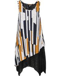 Dorothy Perkins Izabel London Multi Colour Geometric Striped Oversized Top - Yellow