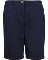 Dorothy Perkins Navy Linen Blend Knee Shorts - Blue