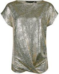 Dorothy Perkins Gold Twist Hem T-shirt, Gold - Metallic