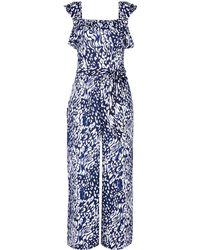 Dorothy Perkins Navy Leopard Print Jumpsuit - Blue