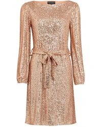 Dorothy Perkins Rose Gold Breast Cancer Care Sequin Belted Fit And Flare Dress, Rose Gold - Metallic