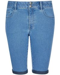Dorothy Perkins Blue Light Wash Double Button Knee Shorts, Blue