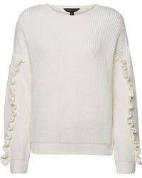 Dorothy Perkins Ivory Ruffle Sleeve Sweater - White