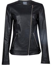Dorothy Perkins Black Faux Leather Collarless Biker Jacket, Black