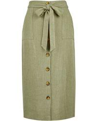 Dorothy Perkins Khaki Linen Mix Midi Skirt - Green