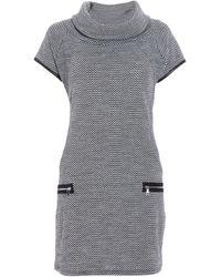 Quiz Quiz Grey And Black Knit Zip Shift Dress