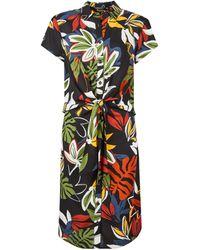 Dorothy Perkins Tall Black Tropical Print Twist Dress