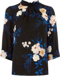 Dorothy Perkins - Black And Cobalt Floral Print 3/4 Sleeve Top - Lyst