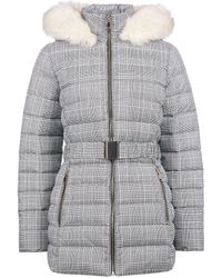 Dorothy Perkins Gray Check Print Short Belted Padded Coat