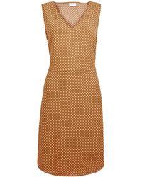 Vila Brown V-neck Polka Dot Print Shift Dress