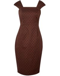 Dorothy Perkins Brown Spot Print Gathered Strap Shift Cotton Blend Dress, Brown