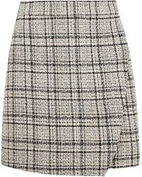 Dorothy Perkins Camel Check Print Boucle Mini Skirt - White