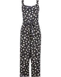 Dorothy Perkins Black Floral Print Wide Leg Jumpsuit, Black