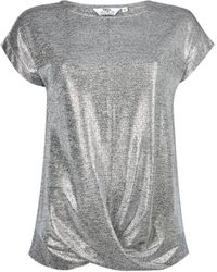 Dorothy Perkins Tall Silver Twist Hem Top - Metallic
