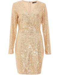 Quiz Quiz Gold Sequin Wrap Front Mini Dress, Gold - Metallic