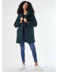 Dorothy Perkins Green Long Teddy Coat, Green