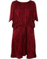 Dorothy Perkins Dp Curve Burgundy Port Jacquard Skater Dress - Red