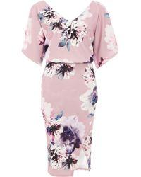 Dorothy Perkins Quiz Mauve Floral Print Midi Dress, Mauve - Purple