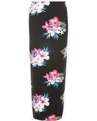 Dorothy Perkins - Black Tropical Floral Maxi Skirt - Lyst