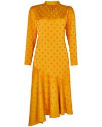 Dorothy Perkins - Yellow Spot Print Jacquard Satin Look Midi Dress - Lyst