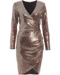 Dorothy Perkins Quiz Bronze Sequin Wrap Bodycon Dress - Brown
