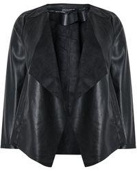 Dorothy Perkins Black Pu Waterfall Jacket