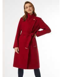 Dorothy Perkins Red Funnel Wrap Coat, Red