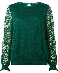 Dorothy Perkins Green Sheered Hem Long Sleeve Top, Green