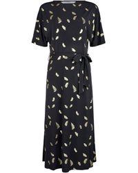 Dorothy Perkins Tall Black Foil Feather Print Midi Dress