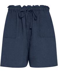 Dorothy Perkins Navy Frill Shorts - Blue