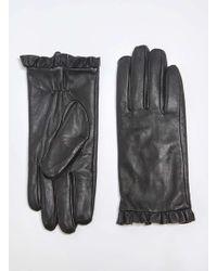 Dorothy Perkins Black Leather Frill Gloves