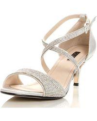 Dorothy Perkins | Quiz Silver Diamante Heel Sandals | Lyst