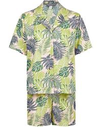 Dorothy Perkins Tall Green Tropical Print Short Cotton Pajama Set - Pink
