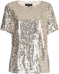 Dorothy Perkins Blush And Silver Sequin T-shirt - Metallic