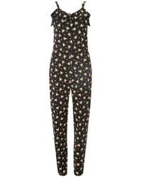 b6fca0ba8e49 Dorothy Perkins - Black Floral Strappy Frill Jumpsuit - Lyst