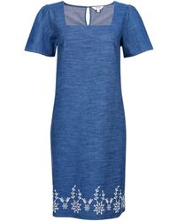 Dorothy Perkins Blue Broderie Shift Cotton Dress, Blue