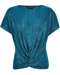Dorothy Perkins Teal Plisse Wrap Top - Blue