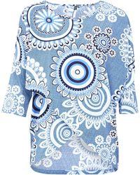 Dorothy Perkins - Izabel London Blue Mosaic Print Wrap Front Top - Lyst