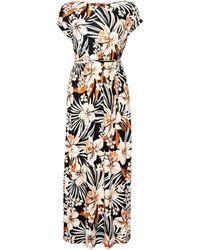 Dorothy Perkins Dp Petite Multi Colour Tropical Print Jersey Maxi Dress - Black