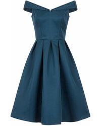 Chi Chi London Chi Chi London Teal Bardot Midi Skater Dress, Teal - Blue