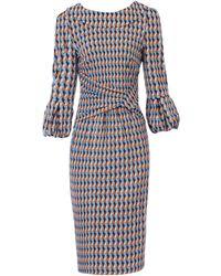 Jolie Moi Jolie Moi Multi Colour Geometric Print Puff Sleeve Dress - Blue