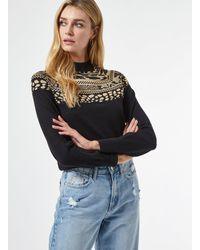 Dorothy Perkins Black Yoke Jacquard Sweater, Black