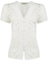 Dorothy Perkins Petite Ivory Broderie Cotton Top - White