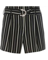 Dorothy Perkins - Monochrome Striped O-ring Shorts - Lyst