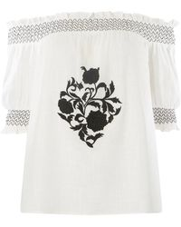Dorothy Perkins - White Embroidered Shirred Top - Lyst