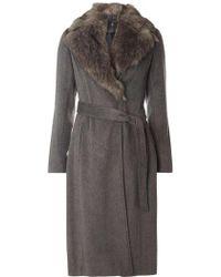 Dorothy Perkins - Charcoal Faux Fur Collar Coat - Lyst